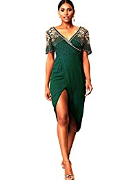 55b20ee8e52 Virgos Lounge Green Julisa Wrap Midi Embellished Cocktail Party Plus Size  Dress 14 to 20
