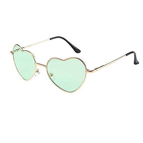 FRAUIT Damen Metallrahmen Sonnenbrille Herzform Sonnenbrille Lolita Love Transparente Folie Liebe Brille Unisex Herz Form Sonnenbrille Sonnen Brille