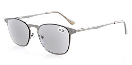 Eyekepper Sonne Leser Qualität Federscharnier Metall Lesen Sonnenbrille Voll Lesen Grau Linse +2.5