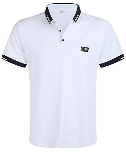 Kuson Hommes Polo Shirts à Manches Courtes Coton T-Shirt d'Eté Minc