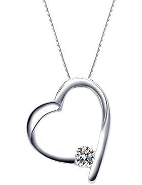 MARENJA Silber-Damen Kette mit Anhänger Herz 925 Sterling Silber Zirkonia klar 44cm