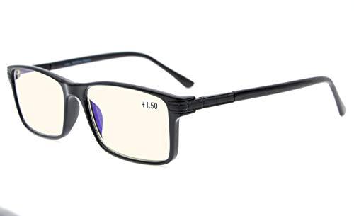 Eyekepper Occhiali Bifocali Lettura Progressiva Multifocus-Montatura TR90 Cerniere a Molla Lenti 3 Livelli Visione, Nero +1.50