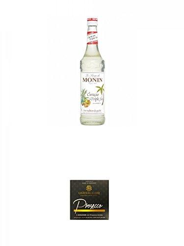 Monin Curacao Triple Sec Sirup 0,7 Liter + Chateau du COQ Prosecco Kondom 1er - Triple Sec Sirup