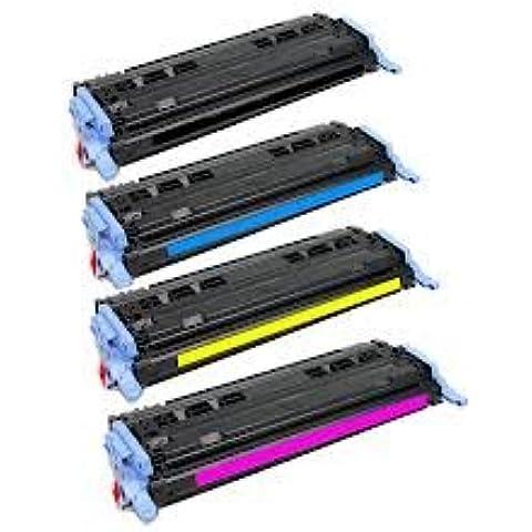 PerfectPrint - Set de 4 124A Compatible Impresora Toner Cartridge Fo HP Laserjet 1600 2600 2600N 2605 605DN 2605DTN MFP CM1015 CM1017, 1x Q6000A Negro, 1x Q6001A Cyan, 1x Q6002A Amarillo, 1x Q6003A