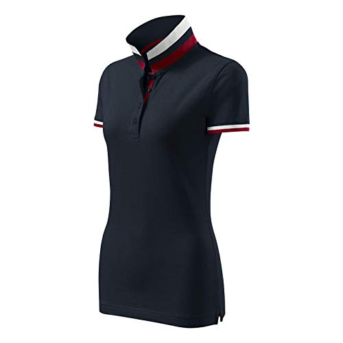Modisches Damen Poloshirt Collar Up - Super Premium Stoff & Shirt Schnitt | 100% Baumwolle | S - XXL (257-Navy-L)