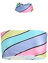 fe927e76ca183 ... Swimwear : Bikinis : MINGA LONDON. Candy Stripes Bandeau Bikini Top  Choker Women Fashion Tumblr Festival Pastel Cute