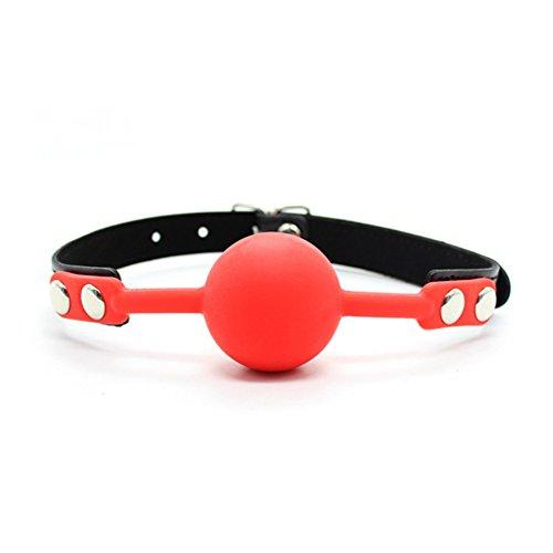 Hanyi Silikon Ball Gag SM Ballk Mund Einstellbar Fetisch BDSM Mundknebel Sexspielzeug (Rot)