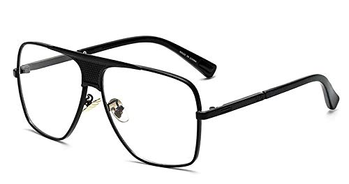Kuletieas new 2019 steampunk square sonnenbrille herren flat top metall gold european american retro sonnenbrille luxus male @ black with clear