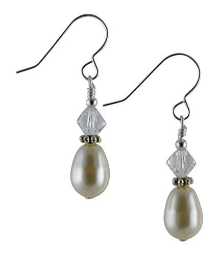 Creme Swarovski Glas Perle, Kristall & Sterling Silber Tropfen Ohrringe mit Geschenk-Box Sterling Creme
