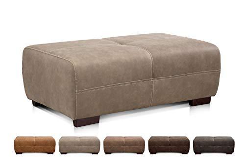 Cavadore Hocker Mavericco / XXL Hocker rechteckig in Lederoptik / Industrial Style / Passend zu Big Sofa und Ecksofa Mavericco / 108 x 71 x 41 cm (BxHXT) / Mikrofaser Beige
