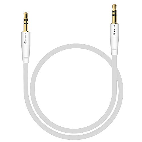 Act Sony Xperia Z5 Compact Anti-Tangle 3,5mm Stereo-Kabel 1 Meter Auxiliary lead Zusatzkabel Klinke-auf-Klinke Buchse zu Buchse Flachkabel Audio-Verlängerungskabel Input von Gadget Weiß -