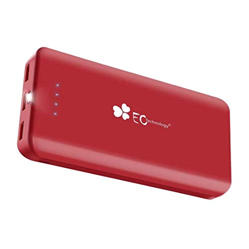 EC TECHNOLOGY Batterie Externe 22400mAh Power Bank Chargeur Portable de Secours avec 3 Ports, Puissante Compatible avec iPhone, iPad, Android, des Smartphones et Tablettes - Rouge