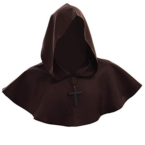 Medieval Pagan Cosplay Custome Halloween Fancy Hood Cowl (Brown) ()