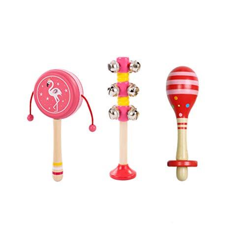 Percussione di legno Puzzle for bambini Rattle giocattolo del bambino Tamburello a mano, regalo creativo di Natale, adatto a ragazzi e ragazze Nel corso di 2 anni ( Colore : Red three-piece suit )