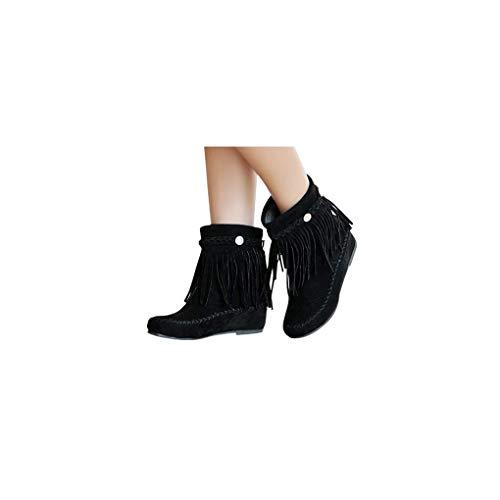 Dorical Damen Stiefeletten Quasten Flach Mokassins Stiefel Boots,Frauen Kurz Winterboots Stiefeletten Boho Stil Halbstiefel,Plateau-Bootie,Gr 35-43(Schwarz,35 EU)
