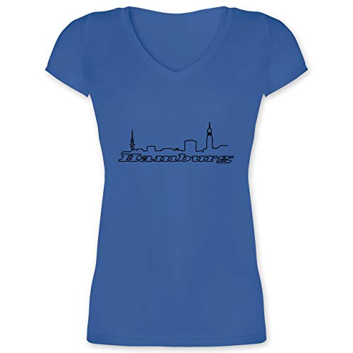 Skyline - Hamburg Skyline - L - Blau - XO1525 - Damen T-Shirt mit V-Ausschnitt