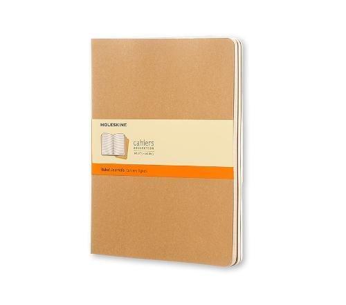 Moleskine Set 3 Quaderni Cahier Journal, a Righe, XL, Marrone