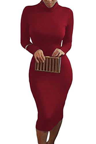 Blansdi 2016 Femmes élastique Moulante Mince Clubwear Manches Longues Sexy Party Base De L'Ourlet Irreguliere Mini Robe Courte Bordeaux