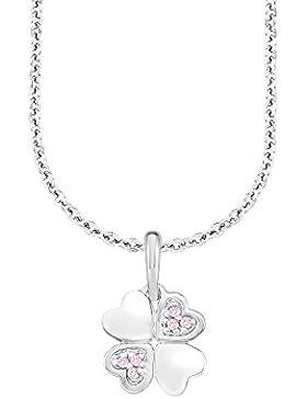 Amor Kinder-Kette mit Kleeblatt-Anhänger Mädchen 925 Sterling Silber rhodiniert Zirkonia rosa- längenverstellbar...