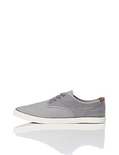FIND Sneaker Herren aus Stoff mit Denim-Look, Grau (Grey), 42 EU (Grau-stoff-schuhe)
