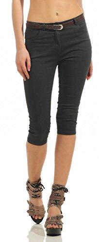 Damen Capri Jeans Capri-Hose Bermuda Kurze Hose inkl. Gürtel (570), Grösse:44 XXL, Farbe:Steingrau