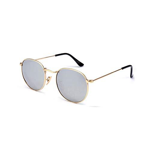 Sport-Sonnenbrillen, Vintage Sonnenbrillen, Russell Gothic Männer Steampunk Sunglasses WoMänner Metal WickelnEyeglasses Sun Glasses Mirror Male Eye Glasses Round Shades 3801 GoldMirror
