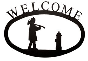 Village Wrought Iron 12 inch Moose and Eagle Welcome Sign, Black, Medium