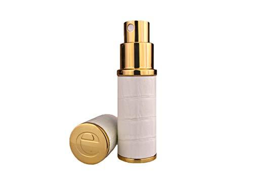 Der Essential Zerstäuber CO. Weiß & Gold Faux Croc 10ml nachfüllbar Spray Parfüm Travel Zerstäuber. Mit einem Trichter und Geschenk-Box -
