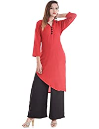 VERO LIE Woman's Yellow Rayon Plain V-Nack Asymmetric Kurti With 3/4 Sleeve Office Wear Casual Rayon VL-KT04