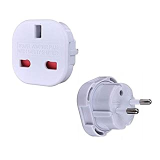High Grade - Travel Adapter Converts UK Plug to 2 pin (Round) EU Plug - Works in United Arab Emirates - AAA Products