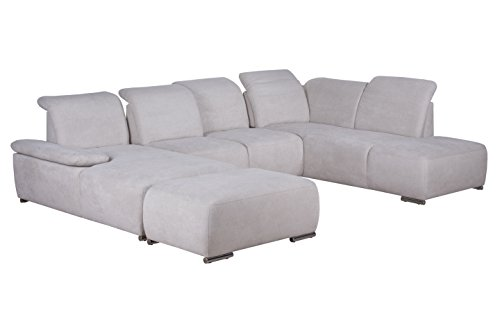 Cavadore Wohnlandschaft Tabagos / U-Form mit Ottomane rechts / XXL Sofa mit Sitztiefenverstellung / Armteilfunktion / 364 x 85 x 248 (B x H x T) / Farbe:...