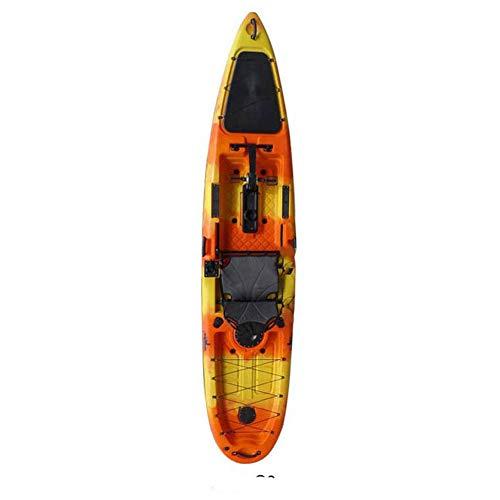 ANAN 3.96 Metros de Largo Solo Barco de Pesca Profesional Canoa Kayak Marino Barco plástico Duro Pedal de Deriva Barco,1
