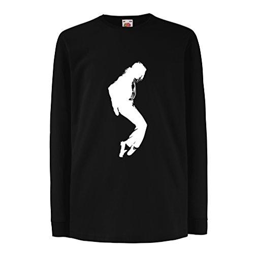 Camisetas de Manga Larga para Niño Me Encanta MJ - Ropa de Club de Fans, Ropa de Concierto (5-6 Years Negro Blanco)