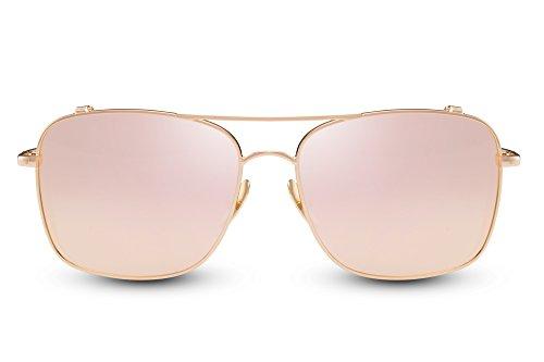 Cheapass Flieger-Sonnenbrille Rosé-Gold Verspiegelt Groß Rund UV-400 Piloten-Brille Metall Frauen Damen