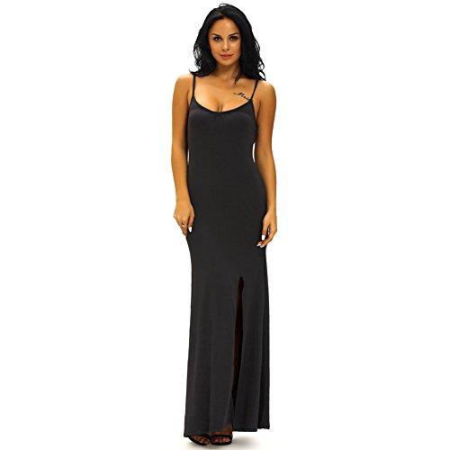 PU&PU Femmes Occasionnels / Sorties / Parti Straps Halter Side ouverture Maxi robe, coupe basse épaule Black