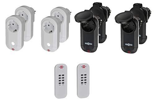 Brennenstuhl Funkschalt-Set: 4x Funksteckdose Set Innenbereich, 4x Funk Schalter Steckdose Außenbereich und 2x Fernbedienung mit Handsender, IP20 / IP44 + Gratis FiduciaShop TouchPen