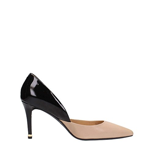 Michael Kors decolletes decoltè scarpe donna con tacco pelle ashby flex nero Bisque / Black