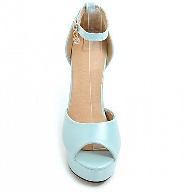 LvYuan Da donna Sandali Finta pelle PU (Poliuretano) Estate Autunno Footing Fibbia Quadrato Bianco Beige Blu Rosa 10 - 12 cm Blue