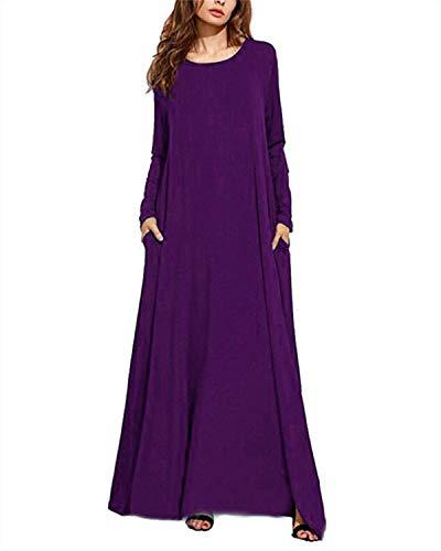 Kidsform Damen Maxikleid Ärmel Baggy Kleid Fest Taschen Partei Lange Kleider Size S/UK 8 c-lila Uk A/c