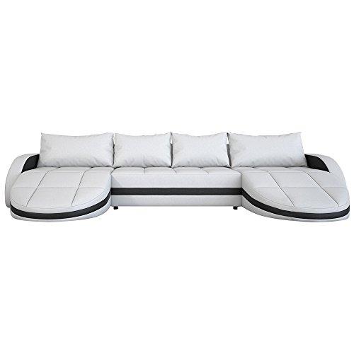 Wohnlandschaft weiß-schwarz in Leder-Optik: Edle Designer Couch mit LED, großer 4 Sitzer, 364 cm breit, Leder-Sofa mit zwei 156 cm tiefen Recamiere / Ottomanen, links & rechts | 2 Eck-Sofa | Made in EU