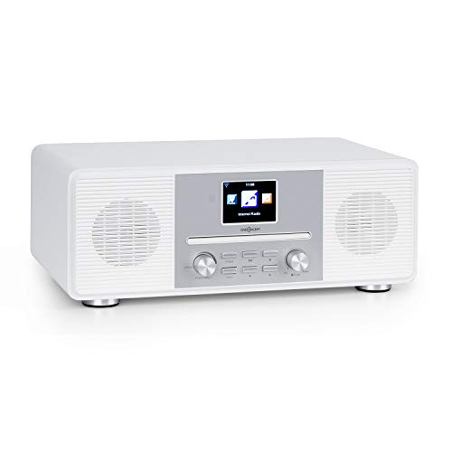 "oneConcept Streamo CD Internetradio, Radioempfang per WLAN, DAB/DAB+ und UKW, 2 x 10 W RMS, Bluetooth, CD-Player, Anschlüsse: AUX-IN, Kopfhörer, 2,8"" HCC Display, inkl. Fernbedienung, weiß"