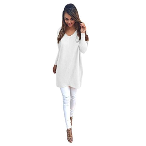 Fami Femmes Automne Casual long Cosy manches Jumper Pull Coats Blanc
