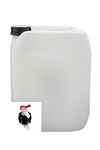 S-Pro 1x Leer-Trink-Wasserkanister 10Ltr. Kunststoff-Natur mit Verschluss und Auslauf-Hahn Din 51 | Absolut geruchsneutral