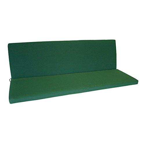 TPFGarden Bankauflage Deluxe DENVO | 3er Bank Sitzkissen und Rückenkissen | 140x88x5cm | Waschbar Bei 40° | Farbton: Dunkelgrün