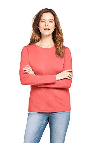 Lands' End Basic Langarmshirt Damen mit rundem Ausschnitt aus Baumwolle Coralle XS