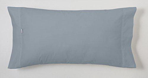 ESTELA - Funda de Almohada Combi Liso Cala Color Acero - 1 Pieza de 45x110 cm - 100% Algodón - 144...