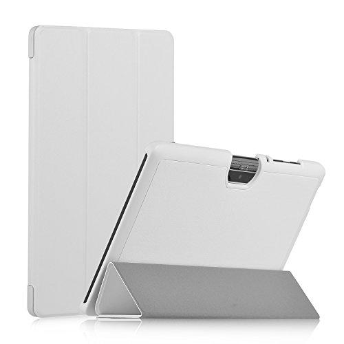 Acer Iconia One 10 B3-A30 Hülle, IVSO Ultra Schlank Superleicht Ständer Slim Leder zubehör Schutzhülle für Acer Iconia One 10 (B3-A30) 25,7 cm (10,1 Zoll HD) Tablet-PC perfekt geeignet (Weiß)