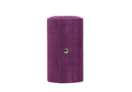 LIFECART-porttil-enrollable-Joyero-con-cierre-de-presin-para-anillo-Earring-Purple-estuche-de-terciopelo-3-pisos