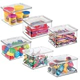 mDesign praktische Spielzeugaufbewahrung - Aufbewahrungsbox mit Deckel zum Spielsachen verstauen im Regal oder unter dem Bett - Ordnungssystem aus BPA-freiem Kunststoff - durchsichtig