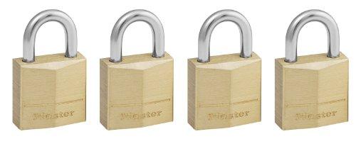 Master Lock 120EURQNOP Set Lucchetti, Arco Acciaio 11 mm, Apertura Chiave Unica, Ottone, 20 mm, 4 Pezzi